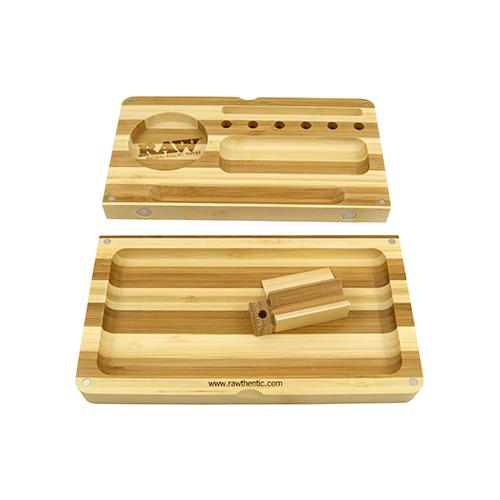 רו מגש עץ מתקפל במבו פסים (מהדורה מוגבלת) | RAW Backflip rolling tray limited edition striped bamboo