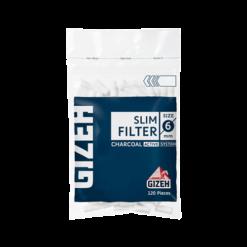 gizeh slim 6mm chrcoal filter tip גיזה פילטר ספוג פחם צר 6 ממ