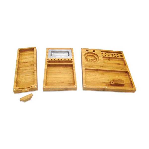 RAW Triple Flip Bamboo Rolling Tray | רו מגש עץ מתקפל - 3 חלקים