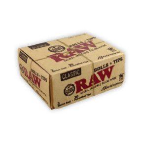 RAW Classic Rolls Masterpiece KS Slim+pre-rolled Tips | רו רול 3 מטר קלאסי גדול עם פילטרים מגולגלים